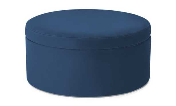 Blue Quinn Mid Century Modern Large Storage Ottoman - Key Largo Denim - Joybird