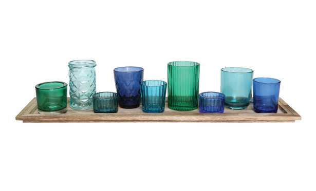 Wood Tray with 9 Blue & Green Glass Votive Holders (Set of 10 Pieces) - Nomad Home