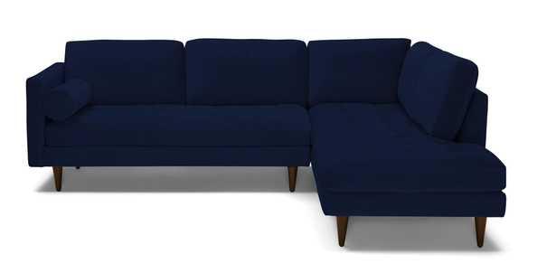 Blue Briar Mid Century Modern Sectional with Bumper - Royale Cobalt - Mocha - Right  - Joybird