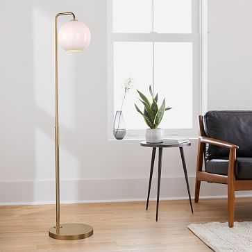 "Sculptural Floor Lamp, Globe Small, Milk, Antique Brass, 8"" - West Elm"