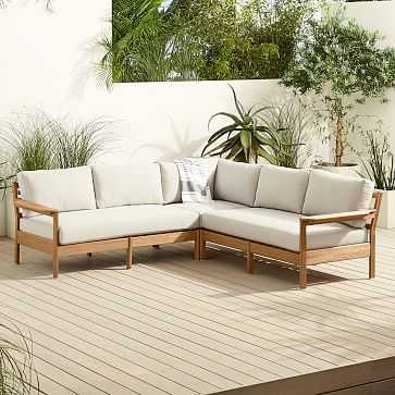 Playa Outdoor L-Shaped Sectional, Mast, Cement - West Elm