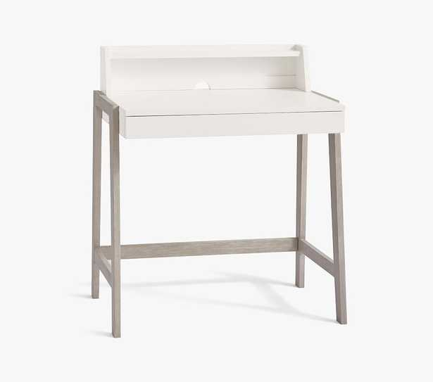 Angled Mini Desk, Simply White & Brushed Fog, In-Home Delivery - Pottery Barn Kids