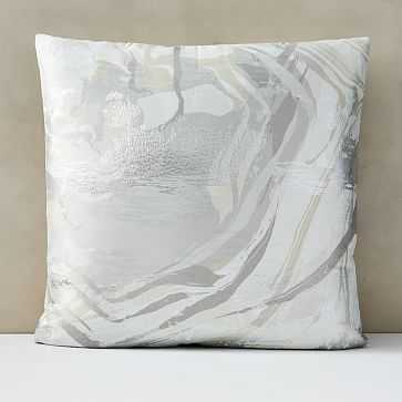 """Marble Swirl Pillow Cover, 24""""x24"""", Frost Gray - West Elm"""