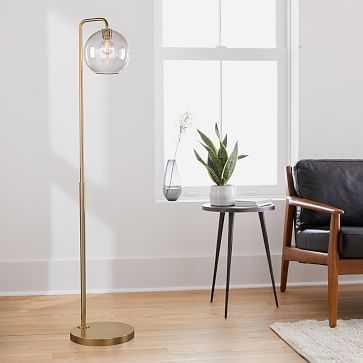 "Sculptural Floor Lamp, Globe Small, Clear, Antique Brass, 8"" - West Elm"
