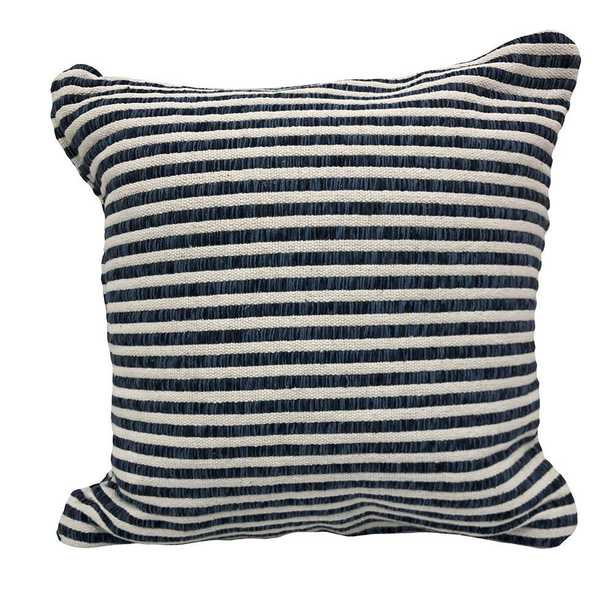 LR Home Loraine Blue/White Striped Soft Polyfill 22 in. x 22 in. Throw Pillow, Blue and White - Home Depot