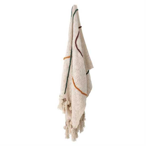 Cotton Embroidered Throw Blanket with Tassels, Cream - Moss & Wilder