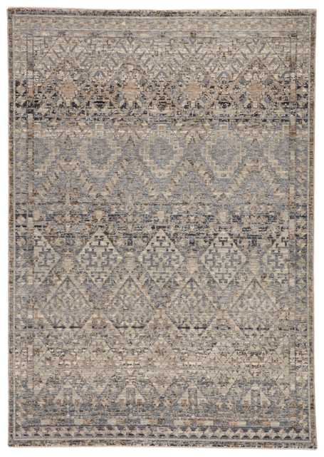 "Cashel Tribal Gray/ Dark Blue Area Rug (9'3""X13'3"") - Collective Weavers"