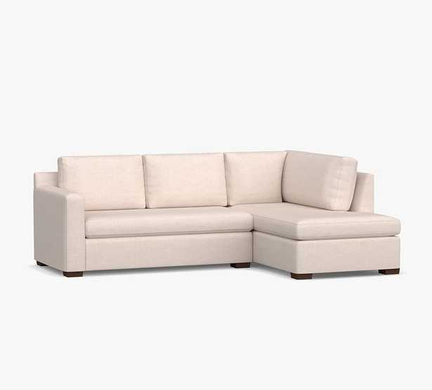Shasta Square Arm Upholstered Left Sofa Return Bumper Sectional, Polyester Wrapped Cushions, Performance Brushed Basketweave Sand - Pottery Barn