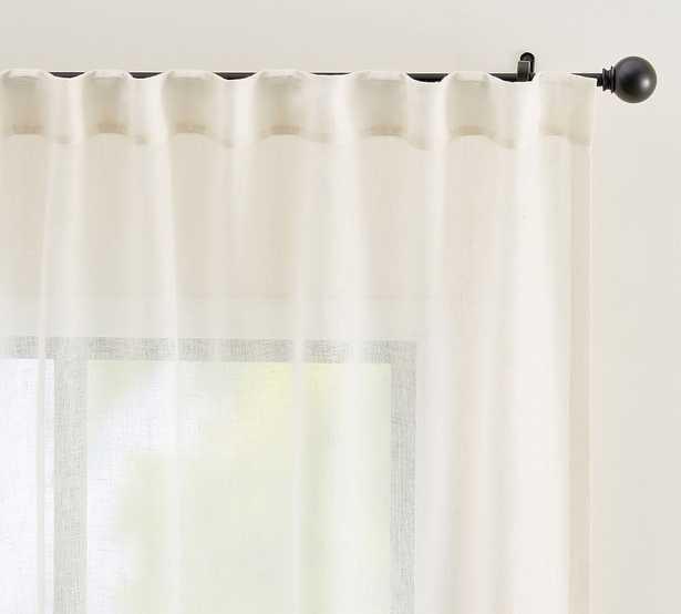 """Emery Rod Pocket Sheer Curtain, 50 x 84"""", Ivory - Pottery Barn"""