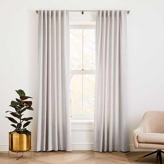"""Cotton Velvet Curtain, Set of 2, Frost Gray, 48""""x84"""" - West Elm"""