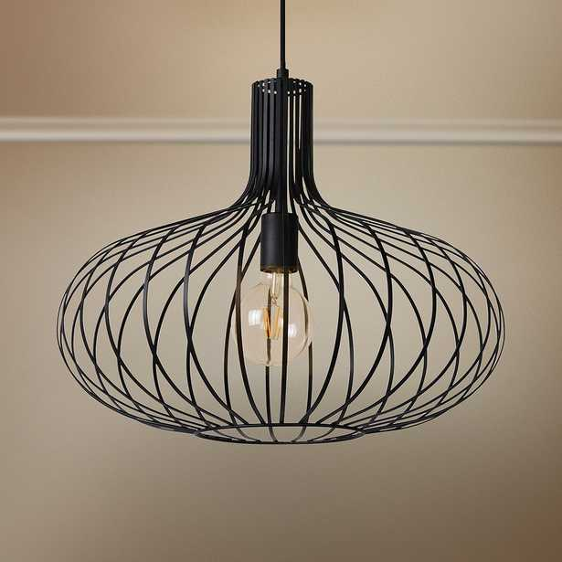 """Ione 19 3/4"""" Wide Textured Black Open Cage Pendant Light - Style # 80J63 - Lamps Plus"""