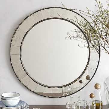Antique Tiled Wall Mirror, Round, Antique Bronze - West Elm