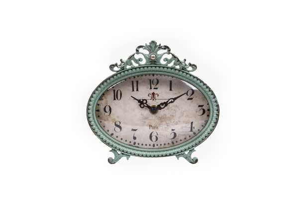Green Antiqued Pewter Mantel Clock - Nomad Home