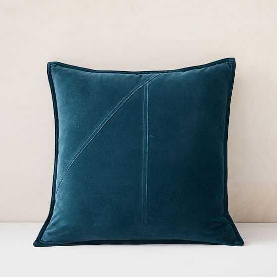 "Washed Cotton Velvet Pillow Cover, Set of 2, Teal Blue, 18""x18"" - West Elm"