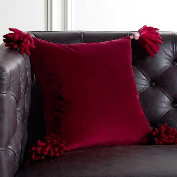 "16"" Bia Tassel Berry Pillow with Down-Alternative Insert - CB2"