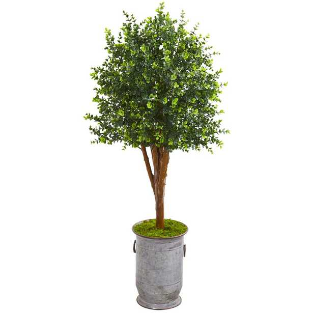 Nearly Natural Indoor/Outdoor 57 in. Eucalyptus Artificial Tree in Metal Planter UV Resistant - Home Depot