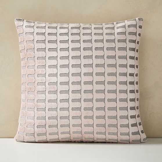 "Cut Velvet Archways Pillow Cover, Set of 2, 18""x18"", Misty Rose - West Elm"