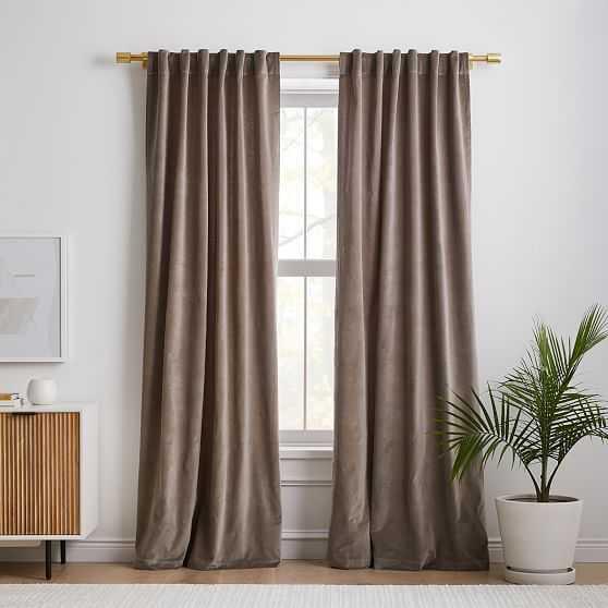 """Cotton Velvet Curtain, Mocha , 48""""x96"""", Set of 2 - West Elm"""