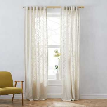 """Sheer Abstract Glass Curtain, Belgian Flax, 48""""x96"""" - West Elm"""