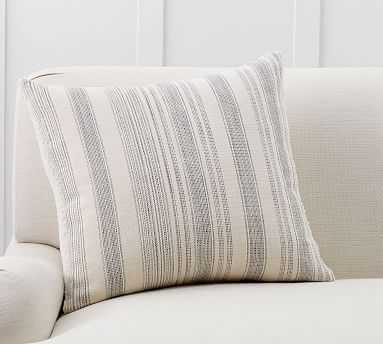 """Hawthorn Stripe Sherpa Back Pillow Cover, 22"""", Charcoal - Pottery Barn"""