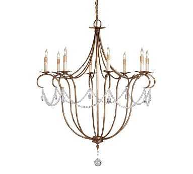 Cabernet Iron & Crystal Chandelier, Gold - Pottery Barn