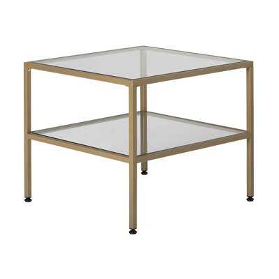 """Camber 2-Tier Modern/Contemporary 25"""" Wide Rectangle End/Side Table Metal Frame And Tempered Glass - Gold - Wayfair"""