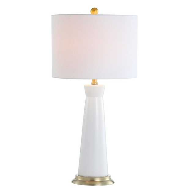 JONATHAN  Y Hartley 29 in. Ceramic Column LED Table Lamp, White - Home Depot