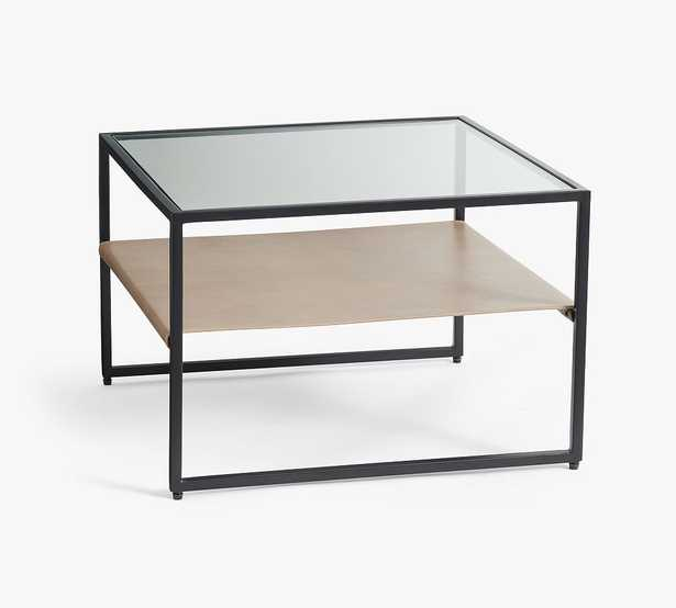 """Hardy 22"""" Leather Bunching Table, Bronze/Morrison Gray Leather - Pottery Barn"""