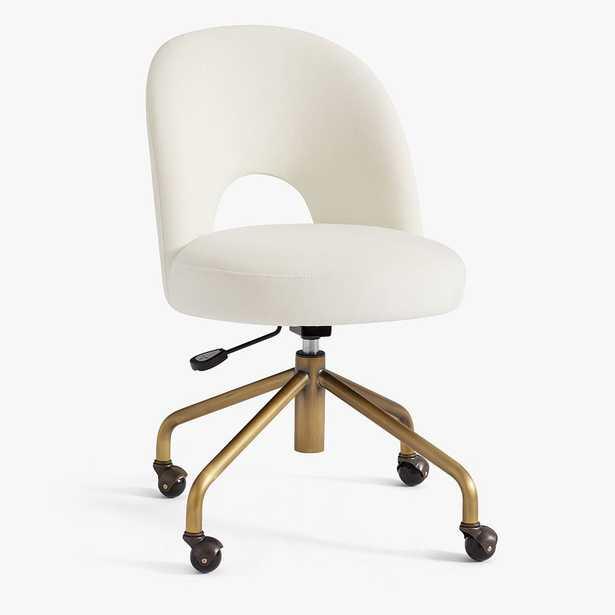 Performance Everyday Velvet Ivory Andie Swivel Desk Chair - Pottery Barn Teen