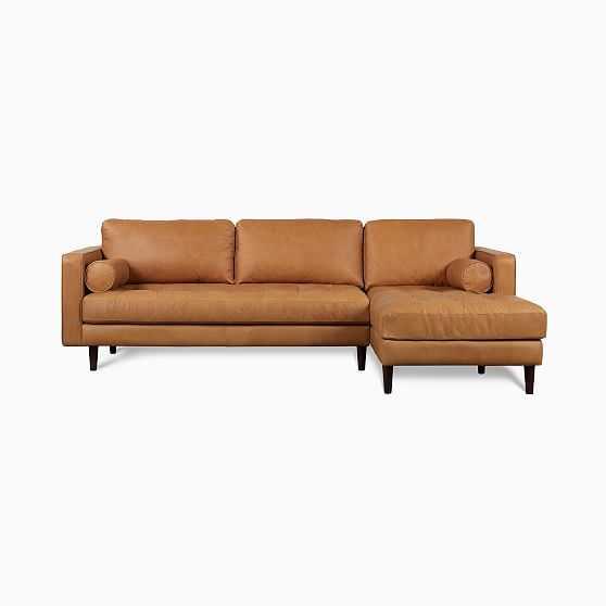 Dennes Sectional Set 01: La Sofa, Ra Chaise,Tan,Charme Leather,Walnut - West Elm