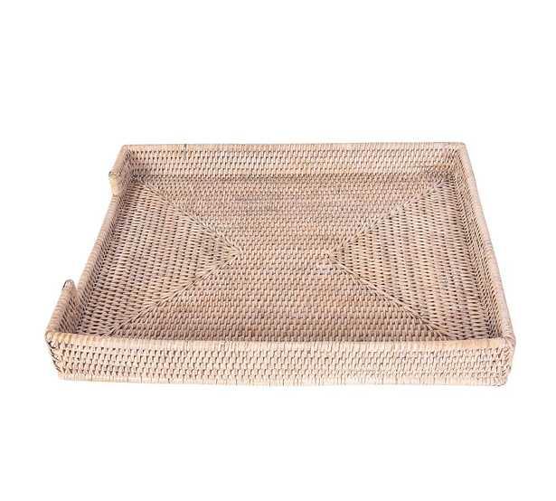 Tava Handwoven Rattan Office Paper Tray, White Wash - Pottery Barn