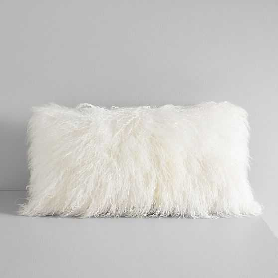 """Mongolian Lamb Pillow Cover with Down Alternative Insert, Stone White, 12""""x21"""" - West Elm"""