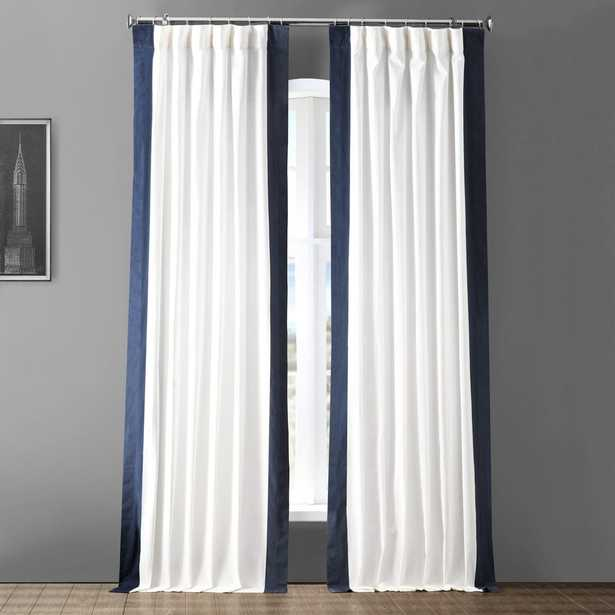 Exclusive Fabrics & Furnishings Fresh Popcorn and Polo Navy Blue Room Darkening Vertical Colorblock Curtain - 50 in. W x 108 in. L - Home Depot