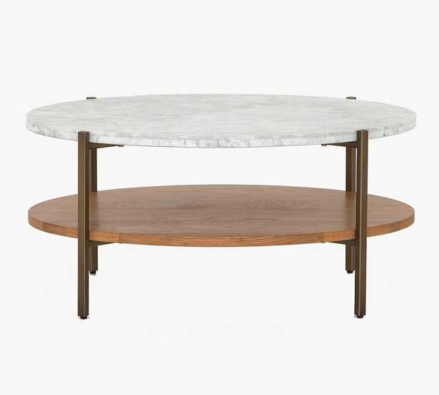 Modern Marble Oval Coffee Table, Natural Oak & Golden Brass - Pottery Barn