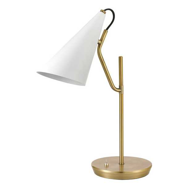 Globe Electric Hartford 18 in. Matte Brass Desk Lamp with Matte White Shade - Home Depot