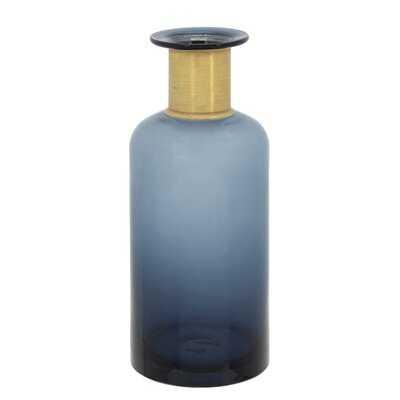 Rutz Blue/Gold Glass Table Vase - Wayfair
