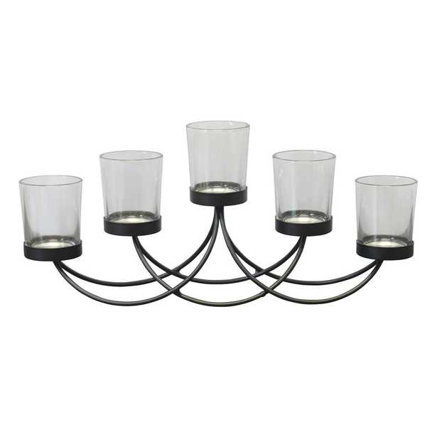 Black Metal 5-Votive Candle Holder Centerpiece - Home Depot