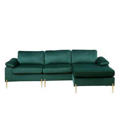 """Sydnee 101"""" Wide Velvet Reversible Sofa & Chaise - Wayfair"""