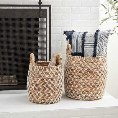 Banana Leaf 2 Piece Wicker Basket Set - Wayfair