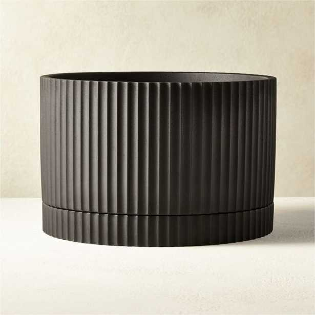 Fold Black Cement Planter with Tray - CB2