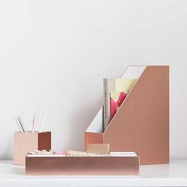 Paper Desk Accessories, Set of 3, Rose Gold Metallic - Pottery Barn Teen