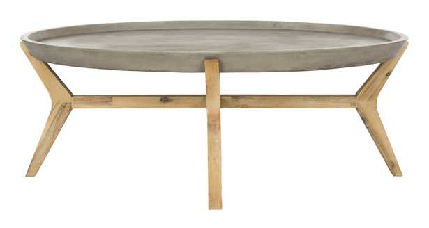 Hadwin Indoor/Outdoor Modern Concrete Oval 31.5-Inch Dia Coffee Table - Dark Grey - Arlo Home - Arlo Home