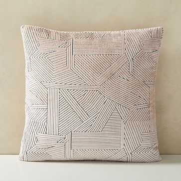"""Linear Cut Velvet Pillow Cover, 20""""x20"""", Misty Rose - West Elm"""