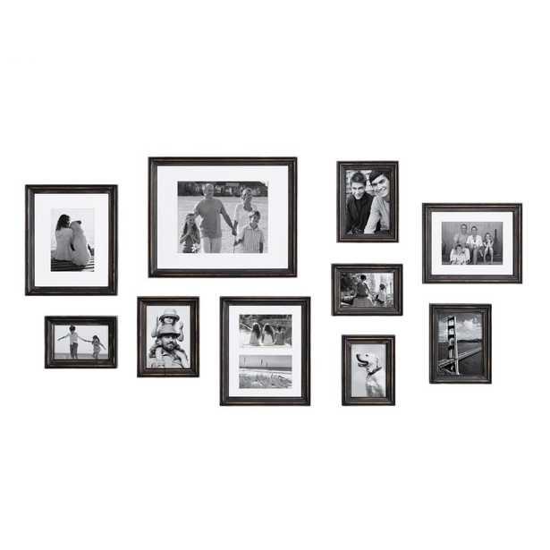 Kate and Laurel Bordeaux Distressed Black Picture Frames (Set of 10) - Home Depot