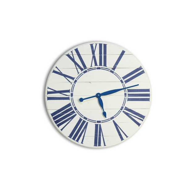 BrandtWorks 36 in. Navy Nautical Oversized Wall Clock, Coastal White/Blue - Home Depot