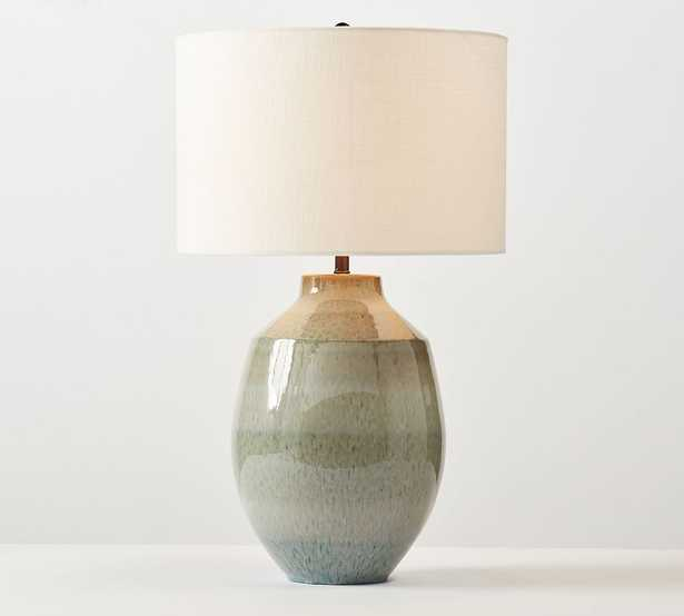 Ezra Ceramic Table Lamp, Reactive Glaze, Large with Large White Textured SS Gallery Shade - Pottery Barn