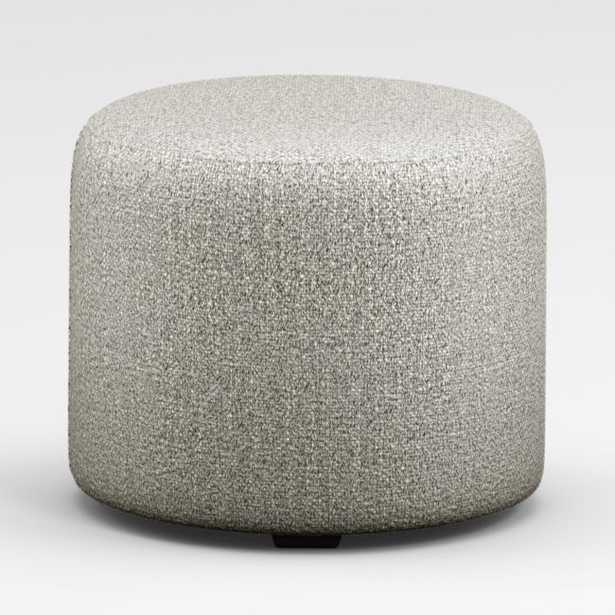 June Round Grey Ottoman - Crate and Barrel