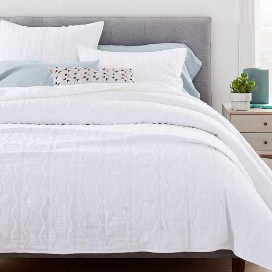Texture Diamond Stripe Coverlet & Standard Sham, White, Full/Queen - West Elm
