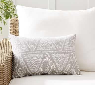 "Sunbrella(R) Woven Triangles Indoor/Outdoor Pillow, 14"" x 20"", Neutral Multi - Pottery Barn"