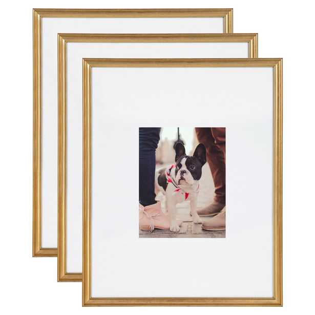 Kate and Laurel Adlynn 16 in. x 20 in. matted to 8 in. x10 in. Gold Picture Frames (Set of 3) - Home Depot